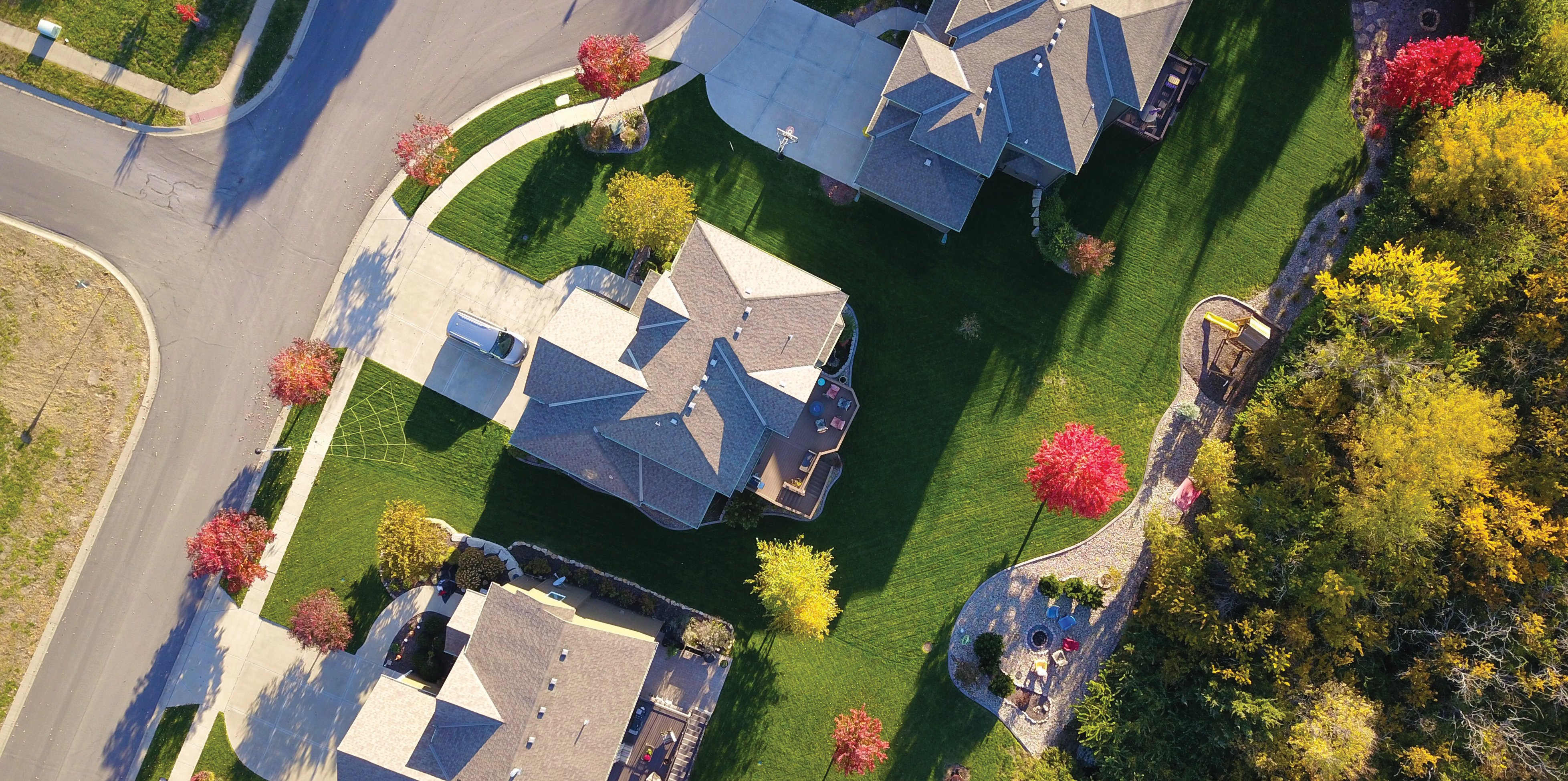 Birdseye view of houses - property taxes